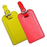 (Red+Yellow)Stylish Microfiber Leather Luggage Tags Business Card Holde,2 Pack