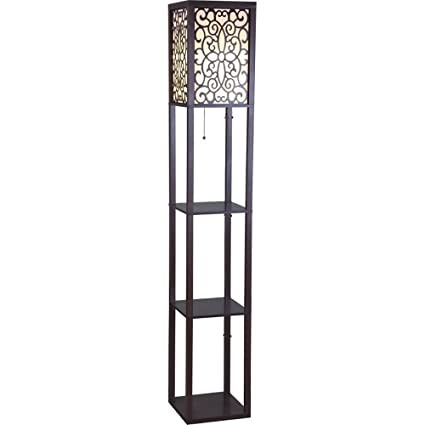 Sh Lighting 6958br A 63h Wooden Shelf Floor Lamp With Floral Shade