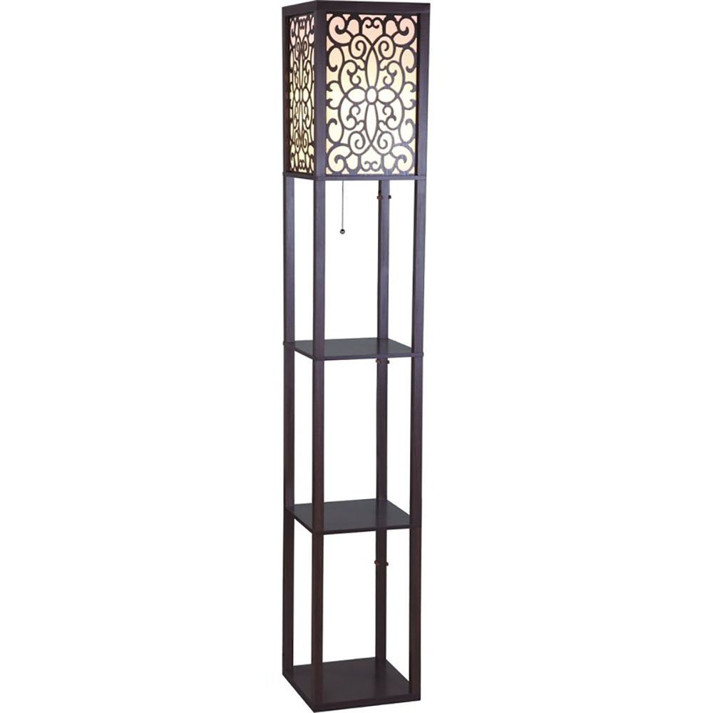 SH Lighting 6958BR-A 63''H Wooden Shelf Floor Lamp with Floral Shade Panels, Brown