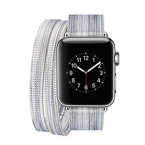 iPM IPMDBLCFUN-38-C Leather Double Wrap Apple Watch Band Strap with Fun Colors, Silver/White