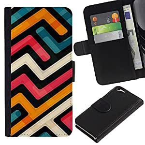 KLONGSHOP // Tirón de la caja Cartera de cuero con ranuras para tarjetas - Resumen Funky Modern Azul Naranja Blanco - Apple Iphone 6 //