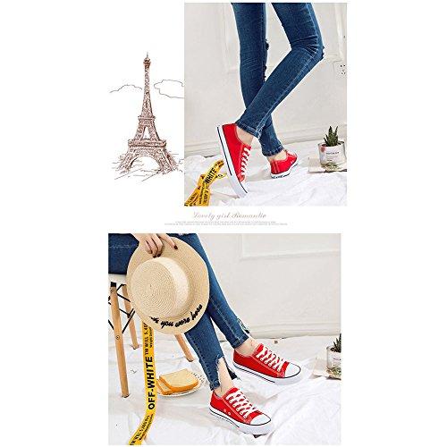 Para De Estudiante Zapatos Deportivos Zapatos Mujeres Lona Zapatos De Corte Lisos Ocasionales De Cordones De Planos Clásicos Colores De Bajo White Zapatos DCRYWRX axqIXT7