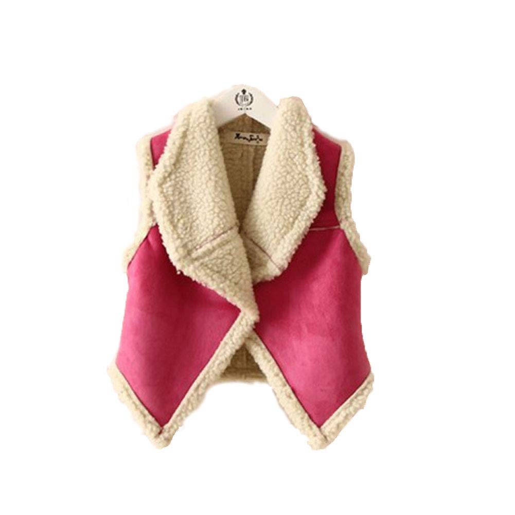 EXIU Baby Girls Faux Fur Suede Vest Jacket Winter Body Warm Coat Waistcoat Gilet