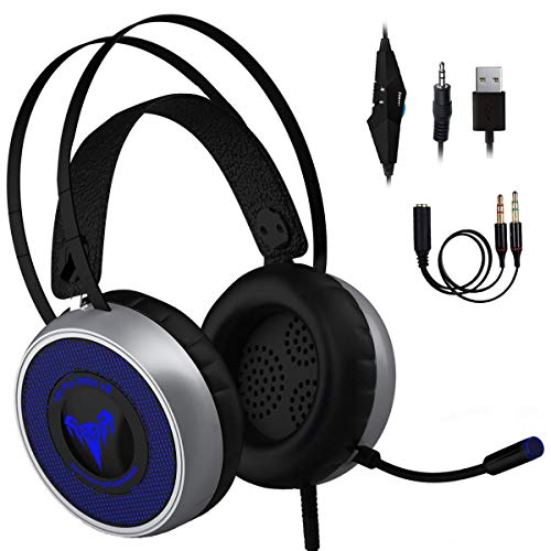 [Newest 2019] Gaming Headset for Xbox One, S, PS4, PC with LED Soft Breathing Earmuffs, Adjustable Microphone, Comfortable Mute & Volume Control, 3.5mm Adapter for Laptop, PS3 ()
