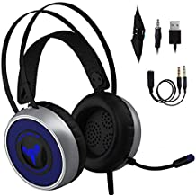 [Newest 2019] Gaming Headset for Xbox One S,X, PS3 PS4, PC with LED Soft Breathing Earmuffs, Adjustable Microphone, Comfortable Mute & Volume Control, 3.5mm Adapter for Laptop, Nintendo