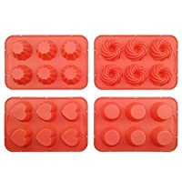 Cupcake Pan,Silicone Cake Mold with Steel Edge 4 Packs 24 Cups Silivo Muffin Mold Round,Heart,Spiral,Flower Shape