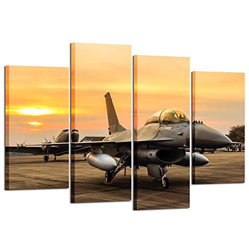 nel Canvas Prints F-16 Fighting Falcon Fighter Jet on Sunset Wall Art Military Airplane Giclee Canvas Pictures Stretched and Framed Paintings Artwork for Home Decor L47xH32 ()