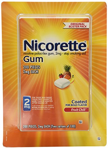 (Nicorette Gum Nicotine Polacrilex Gum 2mg Coated Fruit Chill 200 Pieces)