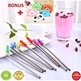 UnzipBro Eco Friendly 8 Stainless Steel Drinking Straws with 8 BPA Free, Reusable Silicone Tips, 2 Cleaning Brushes with Pouch BONUS Set of 5 Funny Drink Coasters