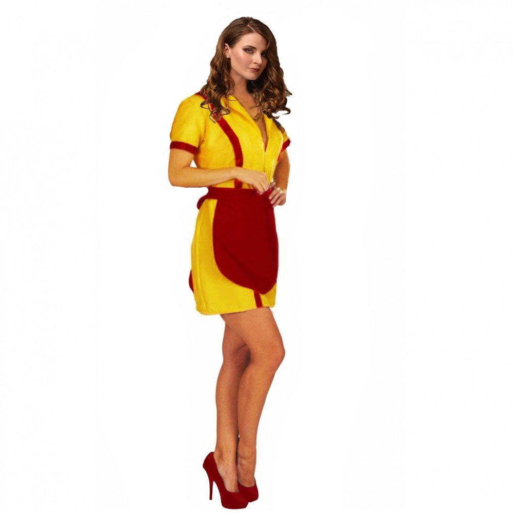 Diner-Girl Gr. S- XL Kleid gelb mit Schürze rot Kostüm (S): Amazon ...