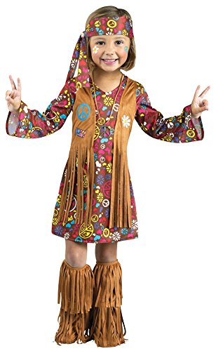 Fun World Costumes Baby Girl's Peace and Love Hippie Toddler Costume, Brown, Small