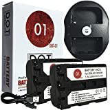 DOT-01 2x Brand Sony Alpha A99 II Batteries and Dual Slot USB Charger for Sony Alpha A99 II DSLR and Sony A99 II Battery and Charger Bundle for Sony FM500H NP-FM500H