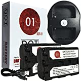 DOT-01 2X Brand 2200 mAh Replacement Sony NP-FM500H Batteries and Dual Slot USB Charger for Sony A77 II Digital SLR Camera and Sony FM500H