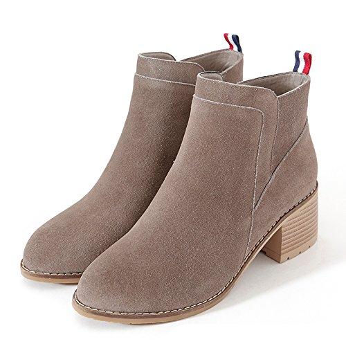 GTVERNH-Otoño coreano Solid redondo pequeño duro con las botas con cremallera lateral Martin botas botas Brown