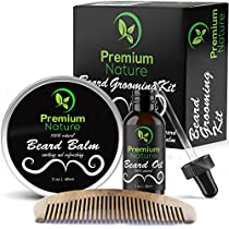 Beard Grooming Kit for Men - Beard Care Gift Sets Best Mustache and Beard Growth Natural Beard Oil Beard Softener Conditioner Balm Butter And Wooden Comb Best Gift Idea for Men Premium Nature