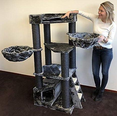 Rascador para gatos grandes Corner Coon Blackline Gris arbol xxl maine coon gato gigante sisal muebles sofa casa escalador casita torre Árboles rascadores ...