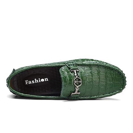 FHTD Mocasines Pisos Slip para hombre Mocasín Zapato de cuero hecho a mano Moda Transpirable Zapatos de conducción Zapatos,Green,42: Amazon.es: Ropa y ...