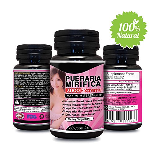 Natural Pueraria Mirifica Daily 1000mg Capsules - Breast Enhancement Pills For Women - Breast Enlarger, Vaginal Health, Menopause Relief, Skin & Hair Health 60 Vegetarian Capsules (Best Breast Enhancement Pills Reviews)