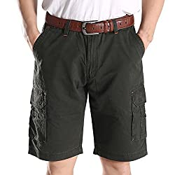Lega Men's Relaxed Fit Cotton Multi-Pocket Cargo Work Shorts(Army Green,US 32)
