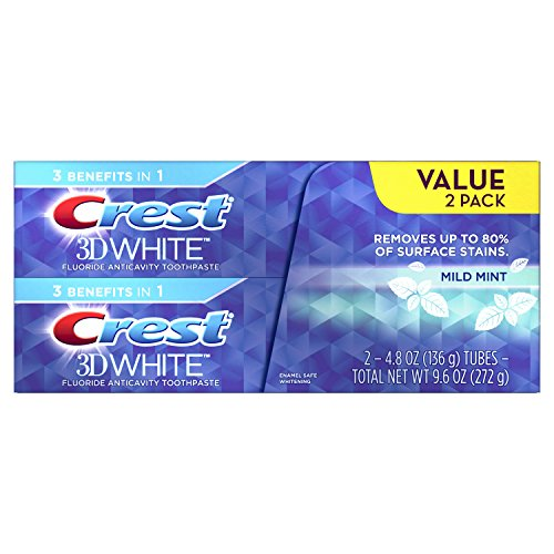Crest 3D White Mild Mint Whitening Toothpaste Twin Pack, 4.8 Ounce
