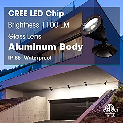 TOPELE 1100LM Landscape Lights,12W 120V Day Light LED Waterproof Outdoor Spotlight, Landscape Lighting, Flood Light for Tree Lawn Wall Flag Garden Yard, ETL Listed