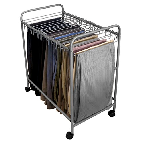 Evelots 18-Pair Rolling Trouser Trolley Removable Pants Hanger, Closet Organizer