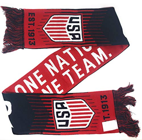 USA Soccer Scarf Official Licensed United States National Team USMNT USWNT for Kids, Players, Fans, Coaches and Trainers - Red White and Blue