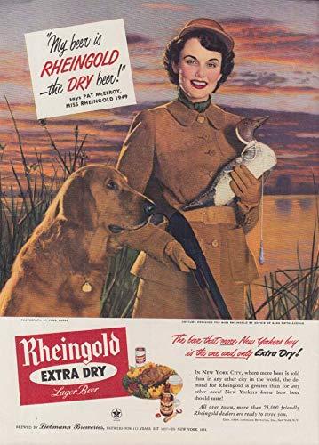 Miss Rheingold Beer Pat McElroy ad 1949 shotgun decoy & retriever NY