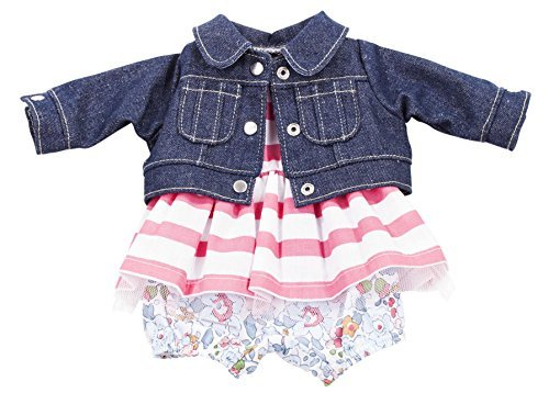 Gotz Combination Outfit with Denim Jacket Flower Pants and Striped Dress for 16.5 Baby Dolls by Gotz