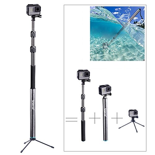 Smatree S3C Carbon Fiber Detachable Extendable Floating Pole with Tripod Stand Compatible for GoPro Hero Fusion/7/6/5/4/3+/3/Gopro Hero 2018/DJI OSMO Action Camera