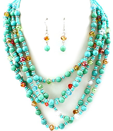 (Multi Strand Seed Beads Necklace Earrings Set)