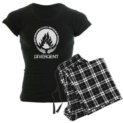 CafePress Divergent - At Your Bravest Pajamas Women's Dark Pajamas - S With Checker Pant