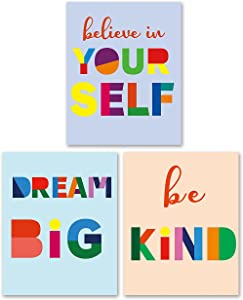 Inspirational Quote Colorful Wall Art Prints for Kids Teens Boys Girls - Motivational Saying Wall Art Posters for Home Living Room Bedroom Nursery(8