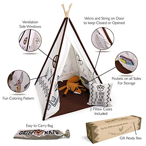 (Teepee Tent with Cushion for Kids, Boys, Girls & Toddler | Suitable for Indoor & Outdoor - Easy to Install – Tent comes with Windows, Pockets, and Coloring Pattern: Pillow Case)