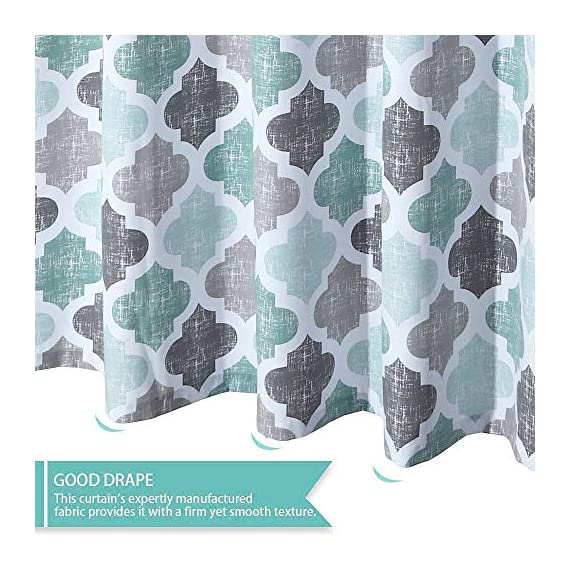 """Haperlare Fabric Shower Curtain, Aqua Polyester Cotton Blend Fabric for Bathroom Showers and Bathtubs, Geometric Pattern Heavy Textured Fabric Shower Curtain for Bathroom, 72"""" x 72"""", Gray/Aqua - QUALITY MATERIAL: Our shower curtain with soft hand feel is made ofa 75% polyester/25% cotton blend fabric, odorless, eco-friendly and durable, thick material. Instantly upgrades any bath to create a relaxing spa-like environment. BATHROOM DECORATIONS: The fabric shower curtain provides perfect privacy and decorative appeal. Inspired by the feeling of stylish and elegant, the quatrefoil geometric pattern shower curtain can also instantly update any bathroom decor theme. SERVE WELL: Bold graphics printedadds real value and depth to your decor. This unique & modern designs match well with various color palettes of towels, rugs, bathroom mats and any other bathroom accessories. Not waterproof, use of liner recommended for added protection. - shower-curtains, bathroom-linens, bathroom - 51GFnMKs0bL. SS570  -"""
