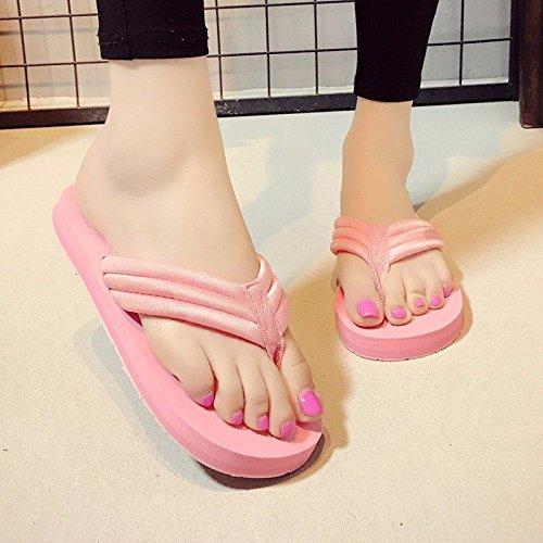 fashion beach beach female fashion wear antiskid simple herringbone British Summer Pink clip flat XZ and shoes LIUXINDA q6UfE6
