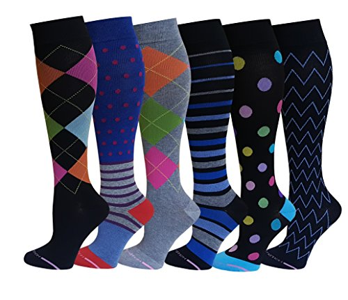 6 Pairs Pack Women Dr Motion Graduated Compression Knee High Socks (6 Pk New Assorted ) by Dr. Motion