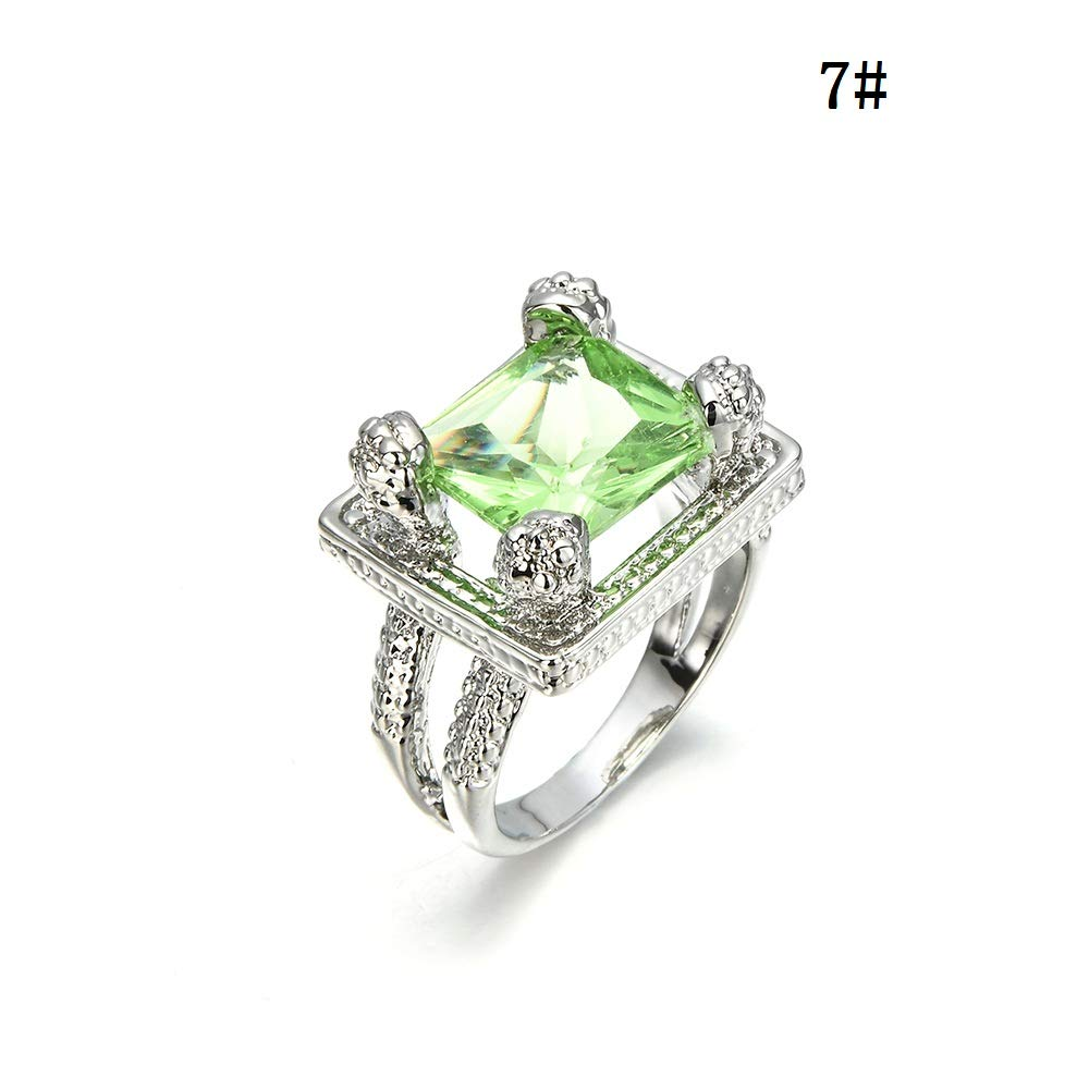 Amazon.com: JEWH 2018 New Women Lady Elegant Green Big Rhinestone Crystal Ring - Hollow Wedding Engagement Rings Jewelry - Best Gift for Birthday (9): Arts, ...