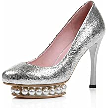 Women Pearl Platform Pump 2017 Autumn New High-heel Shoes Leather Single Shoes Silver Wedding Shoes