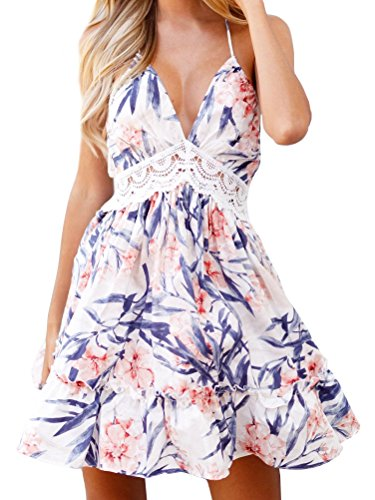 FANCYINN Womens Flared Plunging V-Neck Floral Printed Backless Lace Patchwork Dresses L