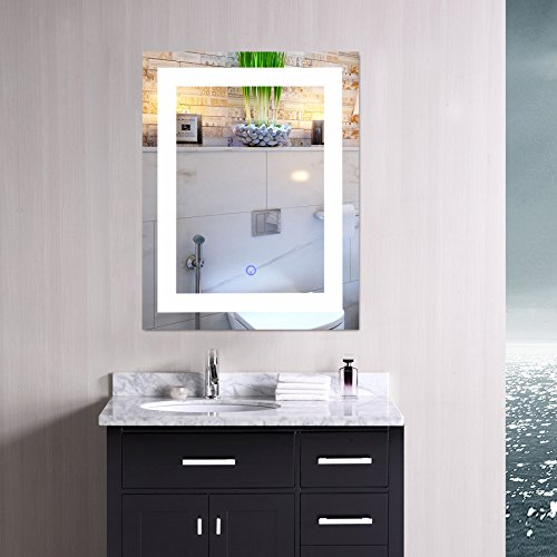 "Modern LED Bathroom Mirror, Dimmable Rectangle Lighted Wall Mirror Lights Dimmer, Wall Mounted Contemporary Light Up Makeup Vanity Cosmetic Bathroom Mirror Over Sink (24"" x 30"")"