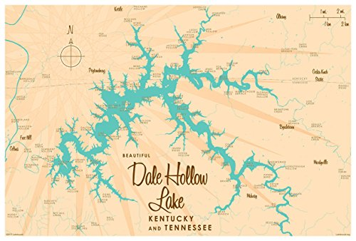Dale Hollow Lake, Kentucky & Tennessee Map Vintage-Style Art Print by Lakebound (12