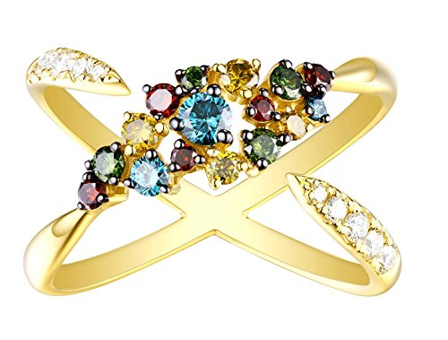 Prism Jewel 3/4 Carat Weight Multi Color Diamond With Diamond Designer Ring, 10k Yellow Gold Size 9 by Prism Jewel