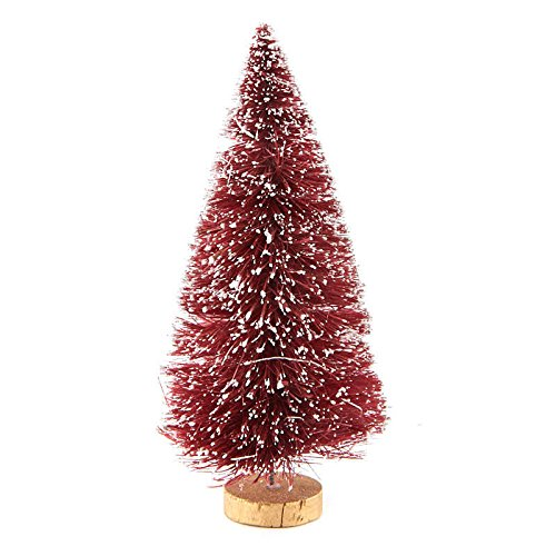Red Bottle Brush Tree - 6 Inch Miniature Frost Covered Berry Red Bottle Brush Trees on Wood Bases - 6 Trees