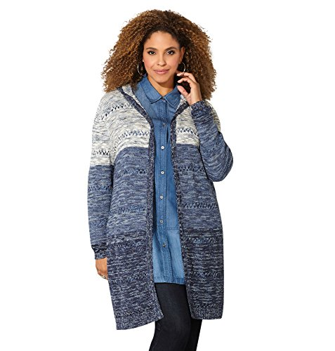 Avenue Women's Marled Colorblock Hooded Duster, 14/16 Teal Print