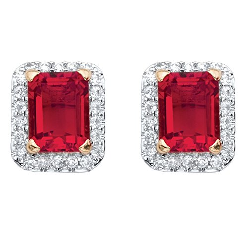 Earrings Glass Ruby (18K Yellow Gold-Plated Emerald Cut Simulated Red Ruby and Cubic Zirconia Stud Earrings (10x8mm))