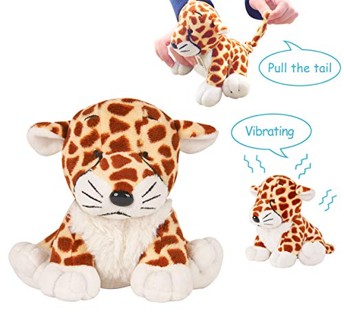 Vibrating Plush - Peacefulspeed Stuffed Animal, Soft Plush Vibrating Toy, Gifts for Kids, Leopard Daniel