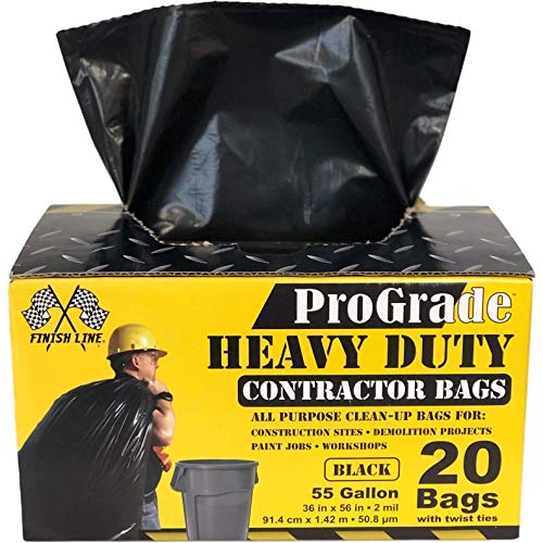 Reli. ProGrade Contractor Trash Bags, 55-60 Gallon (20 Bags w/ 20 Twist Ties) (Black) - Extra Strength (2 mil)- Clean Up Bags - Heavy Duty Can Liners, Garbage Bags - 50, 55, 60 Gallon Trash Bags ()