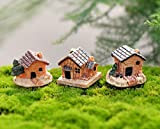LiPing 3PCS Mini Dollhouse Stone House Resin Decorations For Home And Garden DIY (A)