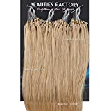 Beauties Factory Straight Micro Loop (Ring) Remy Human Hair Extension 20 inch (#18/613 Ash Blonde/ Cream Blonde Mix (Hair615))